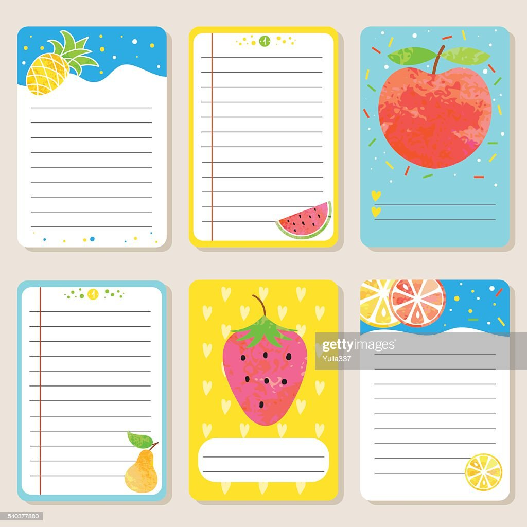 Set of cards with fruit.