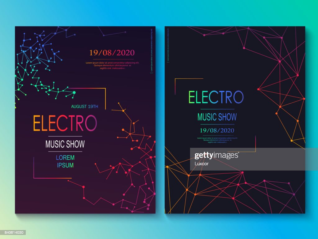 Set of cards with liqud colors. Futuristic abstract design. Usable for banners, covers, layout and posters. Electro club flyer. Vector