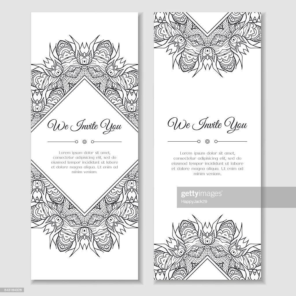 Set of cards with mandala frame