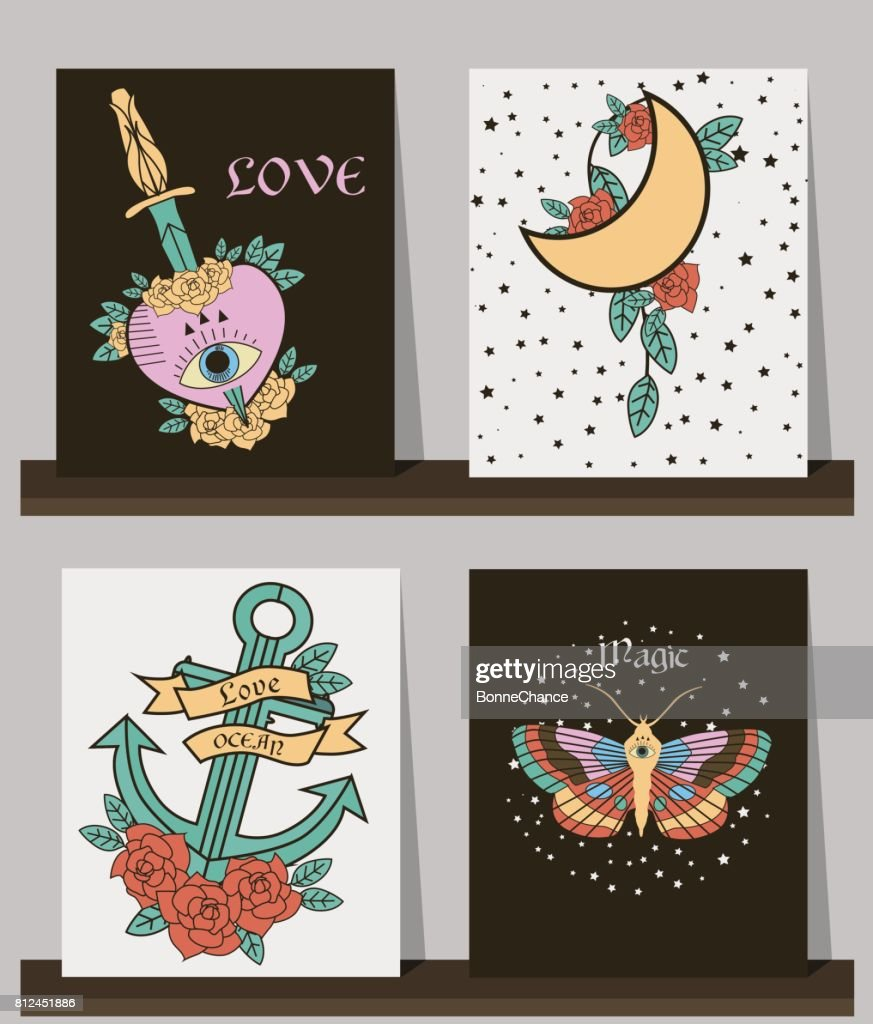 dbefdfcb4baa0 Set Of Cards With Old School Tattoos Elements Stock Illustration ...