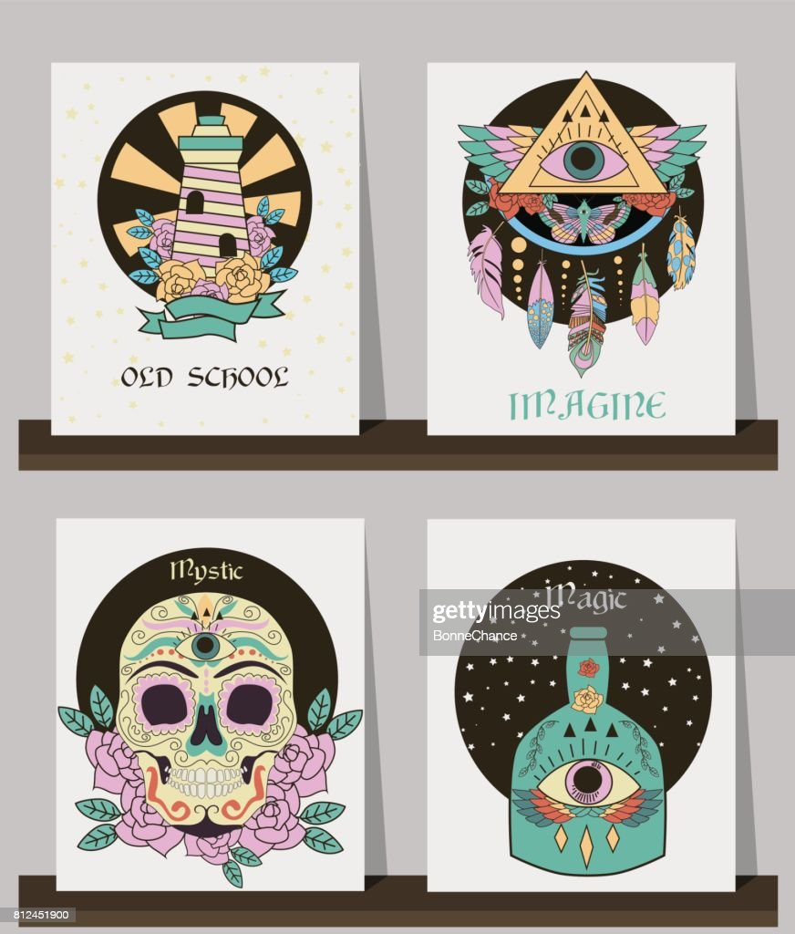 Set of cards with old school tattoos elements