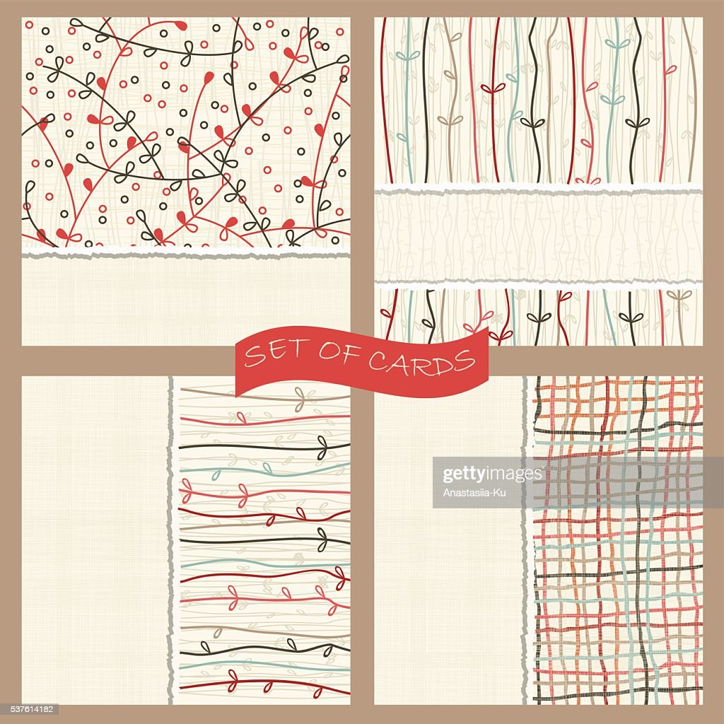set of cards with seamless colorful abstract pattern