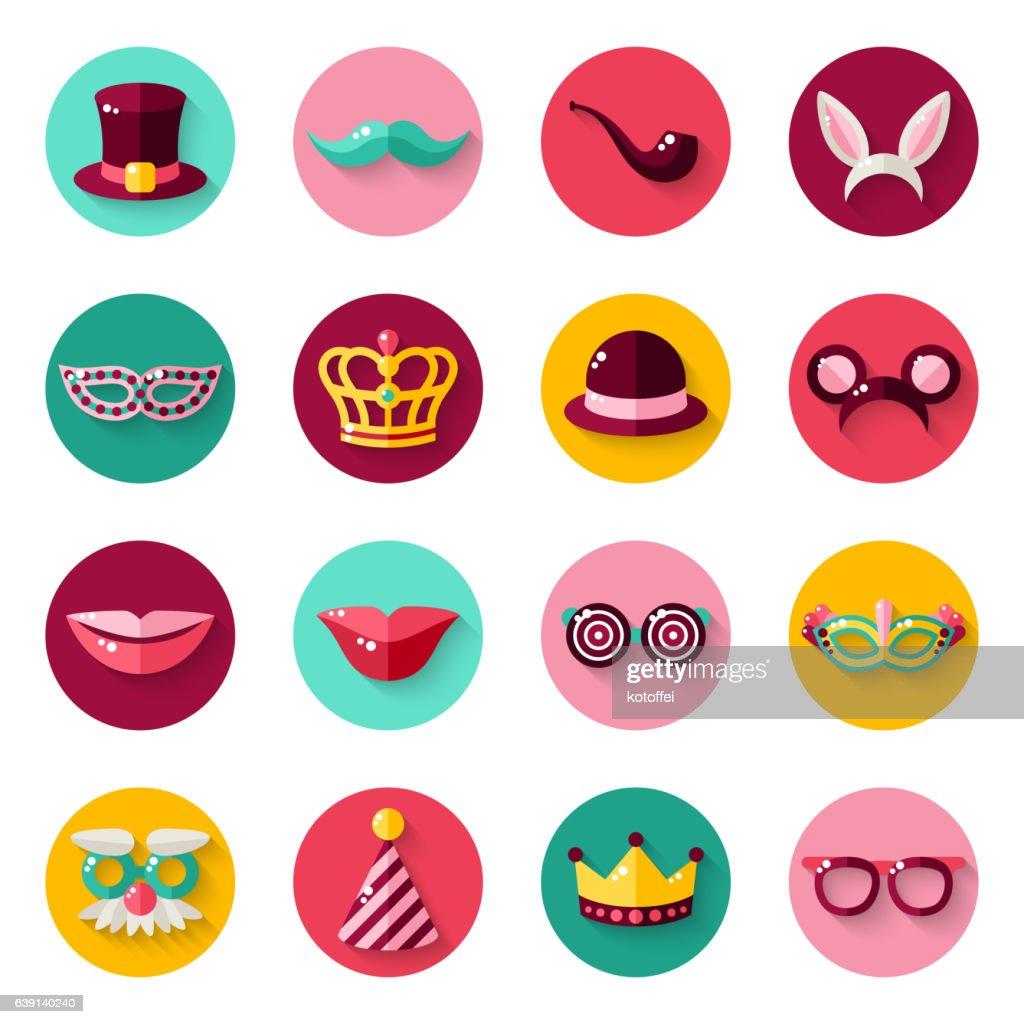Set of Carnival Masks in Circles