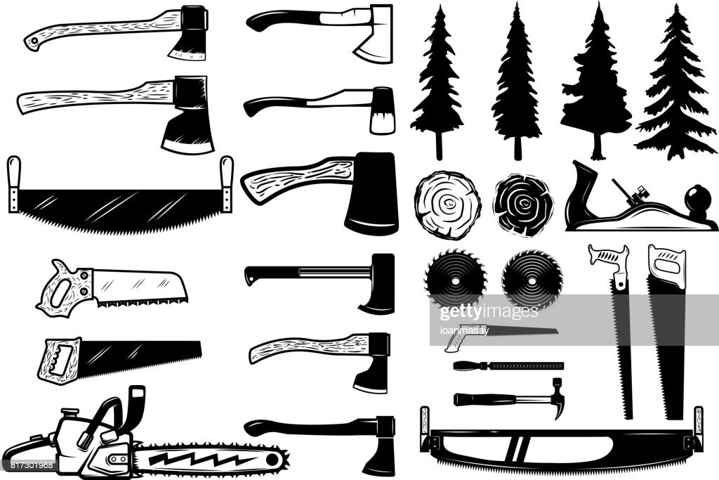 Set of carpenter tools, wood and trees icons. Design elements for label, emblem, sign. Vector illustration