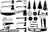 Set of carpenter tools, wood and trees icons. Design elements for label, emblem, sign. Vector illustration