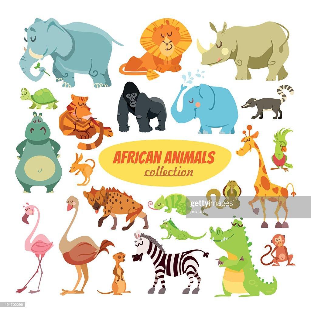 Set of cartoon african animals