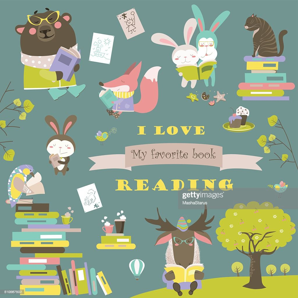 Set of cartoon animals reading books
