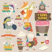 Set of cartoon animals reading books