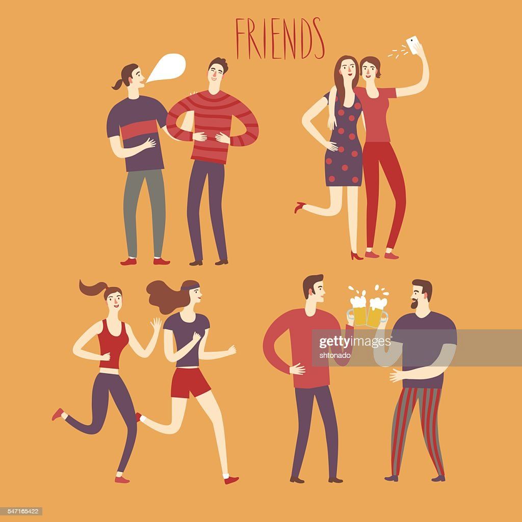 Set of cartoon boys and girls friends in various lifestyles.