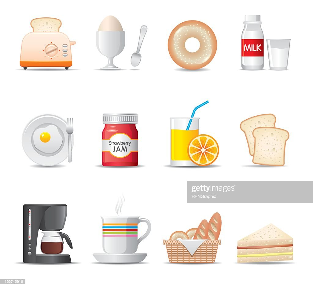 Set of cartoon breakfast food icons