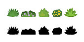 Set of cartoon bushes in flat style. Collection green plants and black silhouettes, isolated on white background.