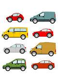 Set of cartoon cars