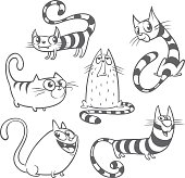 Set of cartoon cats. Outlined vector cats collection
