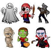 Set of cartoon characters for halloween. Vector illustration.