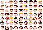 Set of cartoon children head