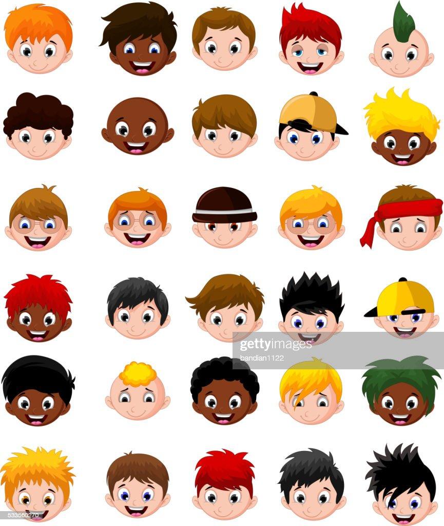 Set of cartoon child's head boys