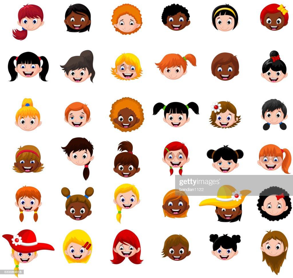 Set of cartoon child's head girls