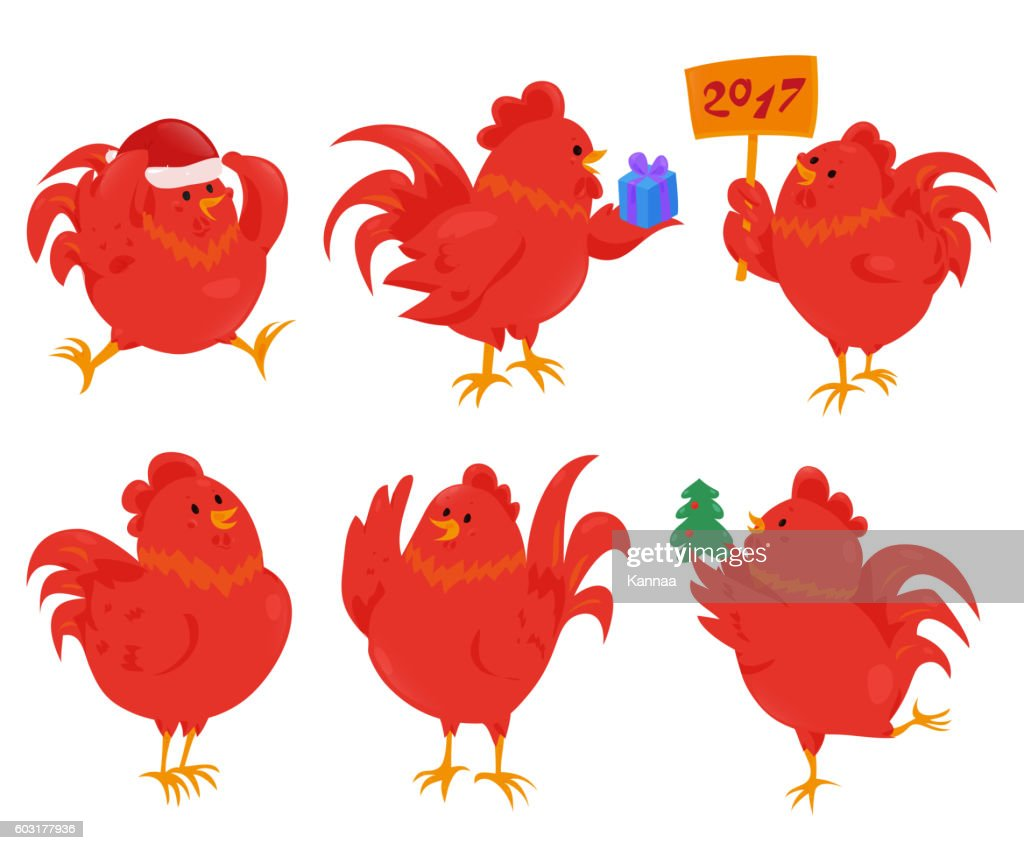 Set of cartoon chinese zodiac fire rooster.