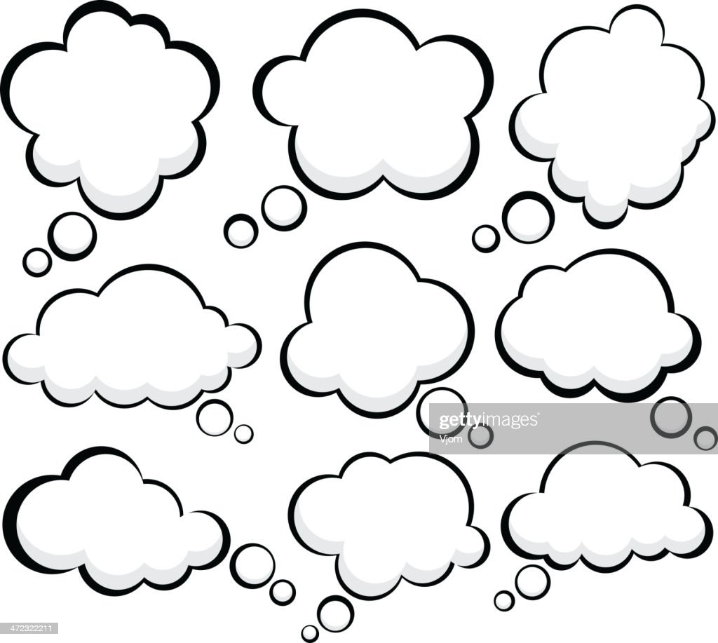 Set of cartoon cloud shape speech bubbles