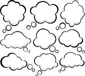 Set of cartoon cloud shape speech bubbles