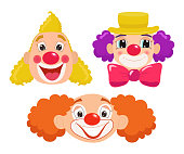 Set of cartoon clown faces.
