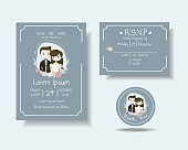 Set of Cartoon Couple Wedding Invitation Card.