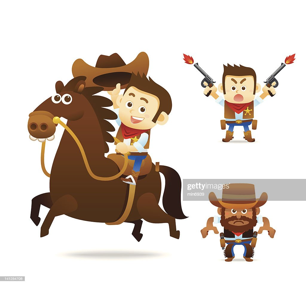 Set of cartoon cowboy characters over a white background