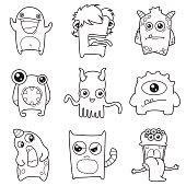 set of cartoon cute monsters outline