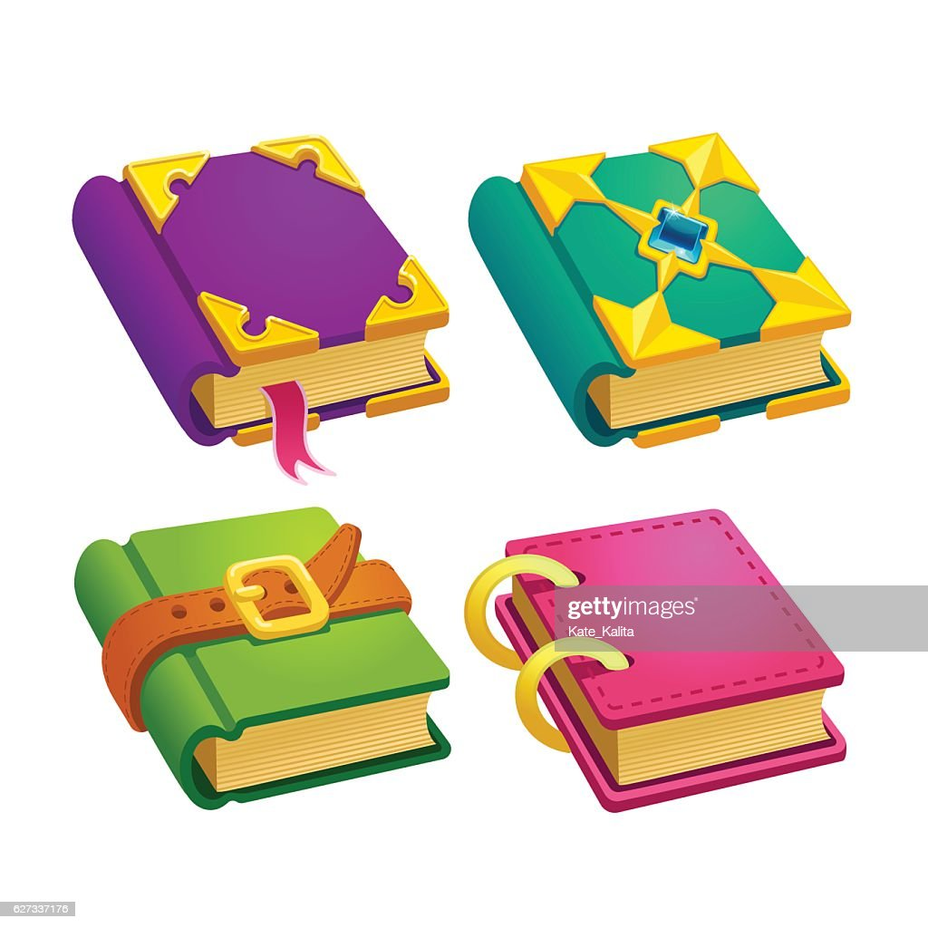 Set of cartoon different color books