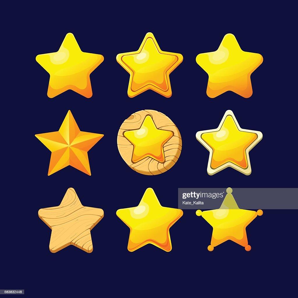 Set of Cartoon different Stars.