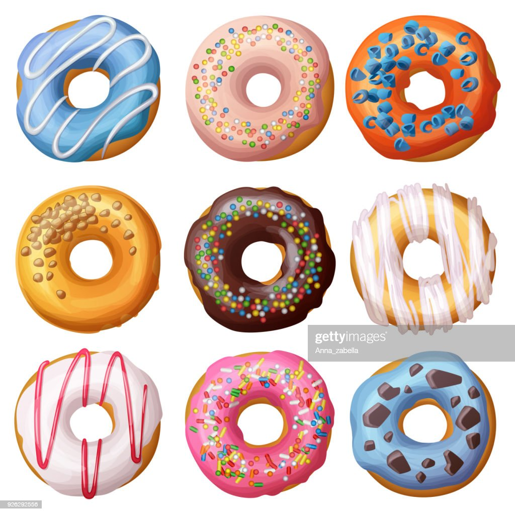 Set of cartoon donuts isolated on white background