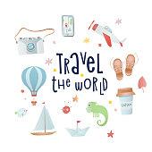 Set of cartoon elements: camera, balloon, plane, boat, iguana. Time of adventure. Holiday card design.