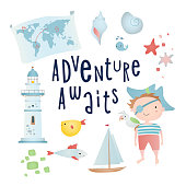 Set of cartoon elements: pirate, lighthouse, map, shell. Time of adventure. Holiday card design.