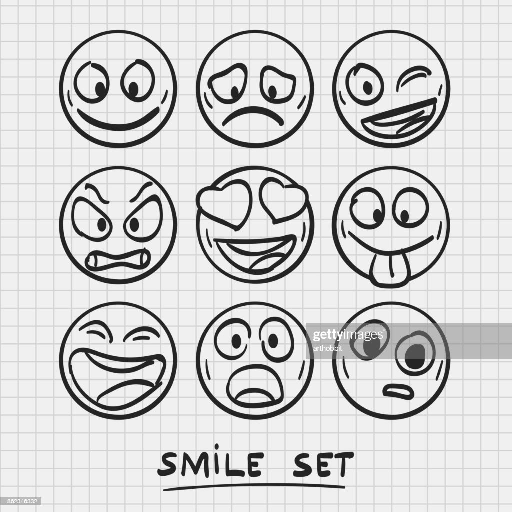set of cartoon emoji. Sketch emoji.