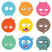 Set of cartoon faces with expression of emotions