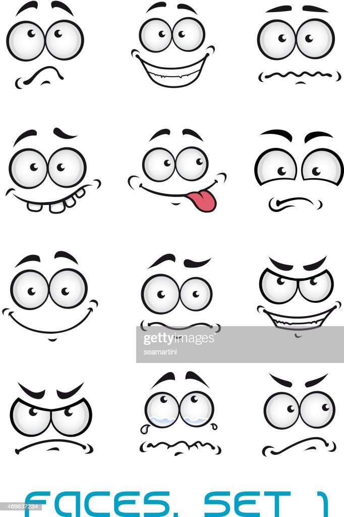 Set of cartoon facial expressions