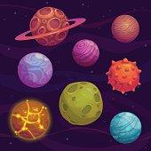 Set of cartoon fantastic planet