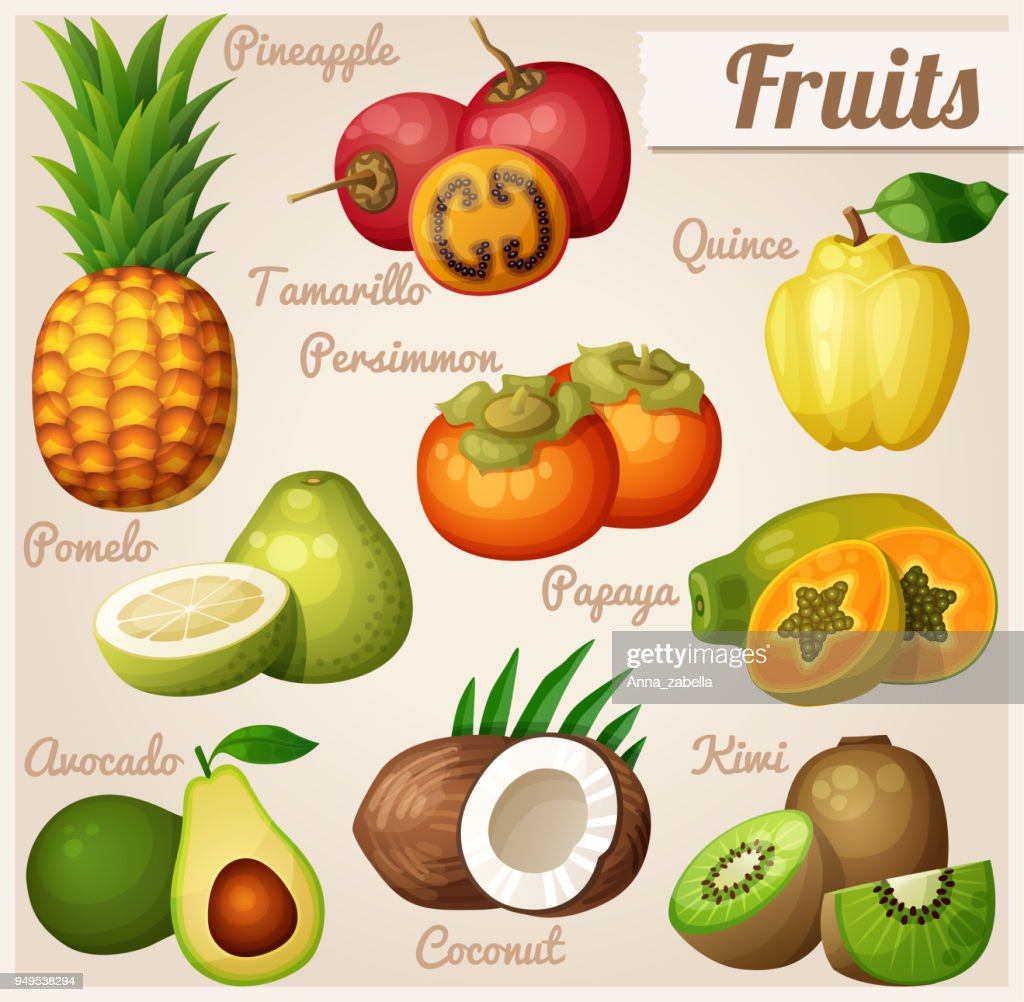 Set of cartoon food icons. Exotic fruits. Pineapple (ananas), tamarillo, quince, persimmon