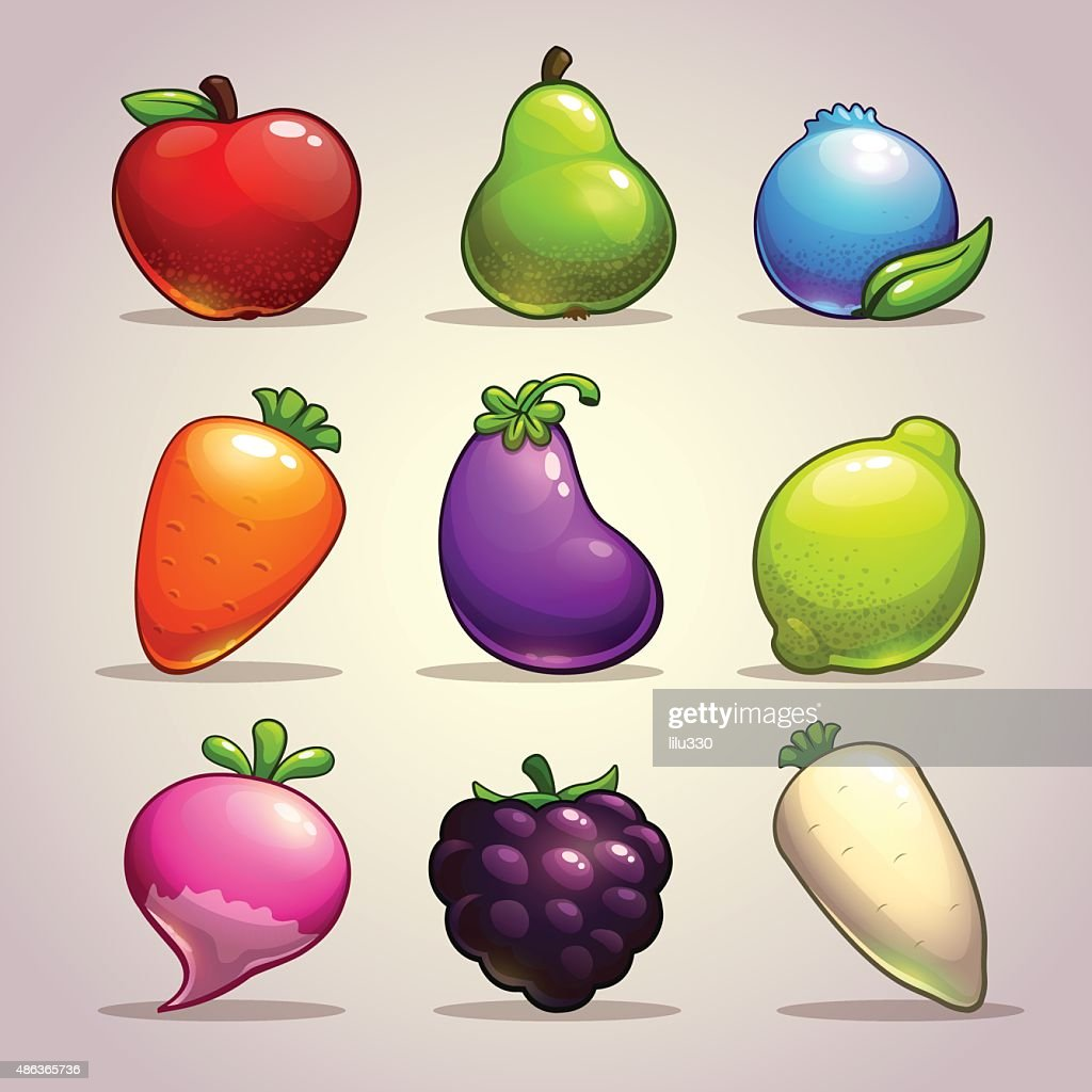 Set of cartoon fruits