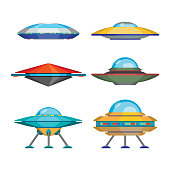 Set of cartoon funny aliens spaceships, vector illustration