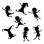 Set of cartoon girl silhouette, different action poses