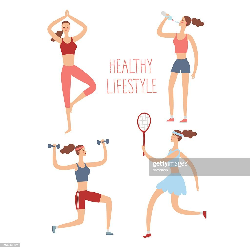 Set Of Cartoon Girls Doing Sport Exercises stock