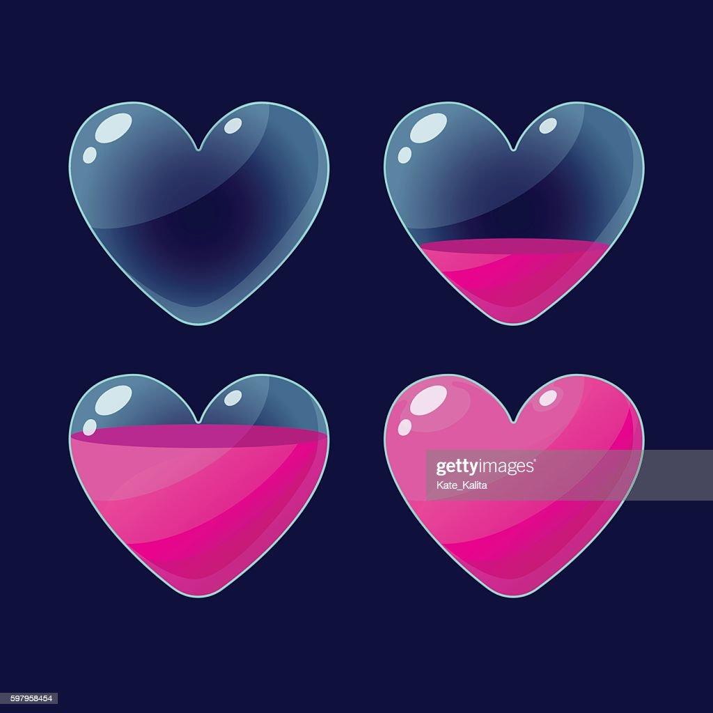 Set of Cartoon glossy hearts.