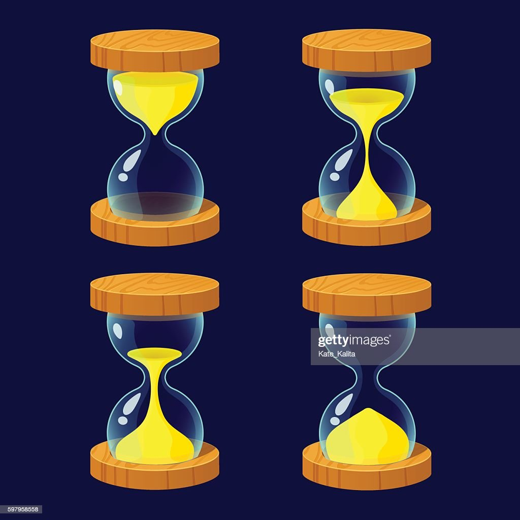 Set of Cartoon glossy hourglass