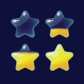 Set of Cartoon glossy Stars.