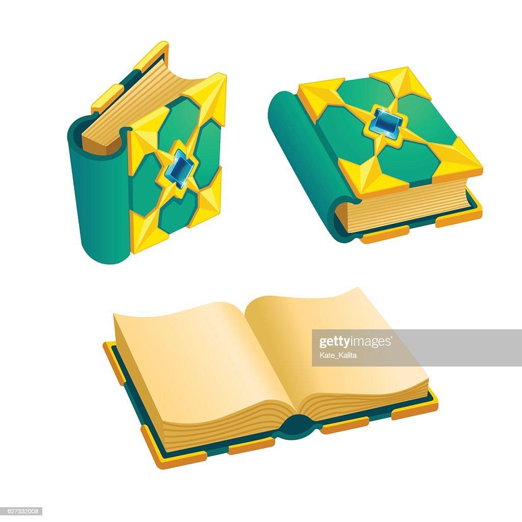 Set of cartoon green book