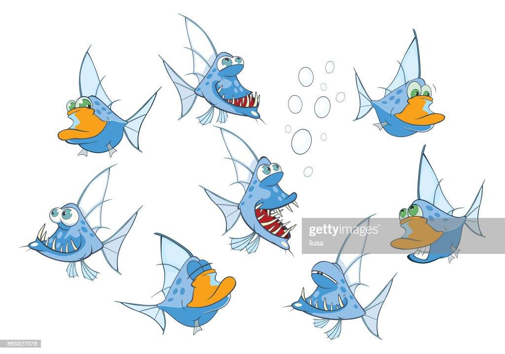 Set of Cartoon Illustration Cute Fish for you Design