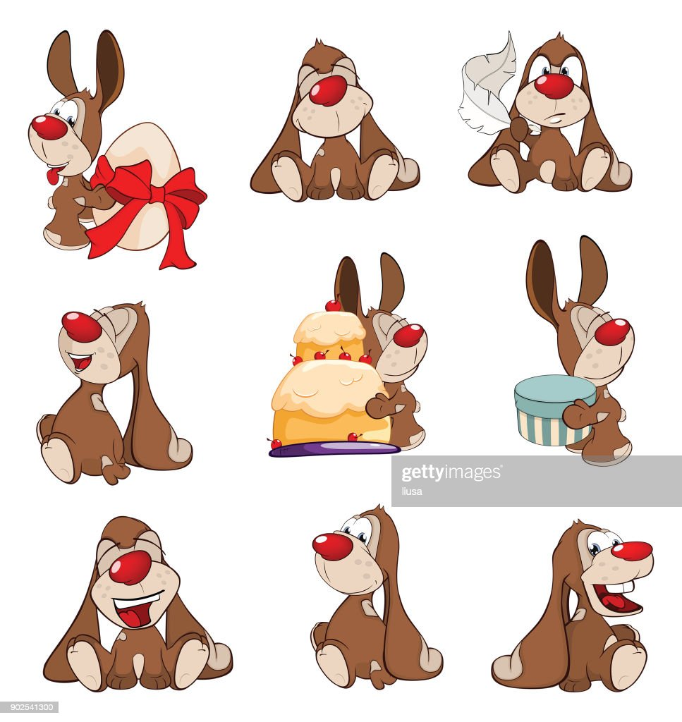 Set of  Cartoon Illustration Cute Rabbits for you Design