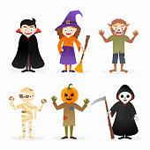 Set of cartoon isolated vector halloween costume characters