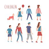 Set of cartoon kids in various ages